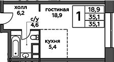 Студия, 35.1 м²– 2