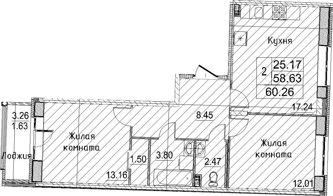 3-к.кв (евро), 61.89 м²