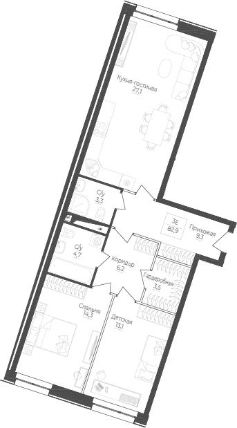 3Е-комнатная, 82.9 м²– 2
