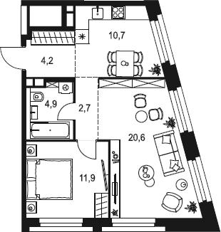 2-к.кв, 55 м²