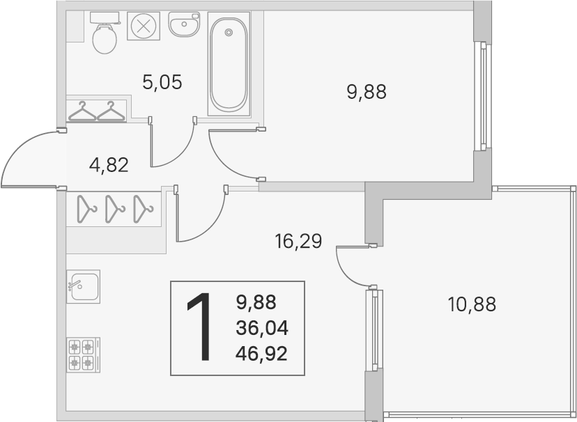 2Е-комнатная, 36.04 м²– 2