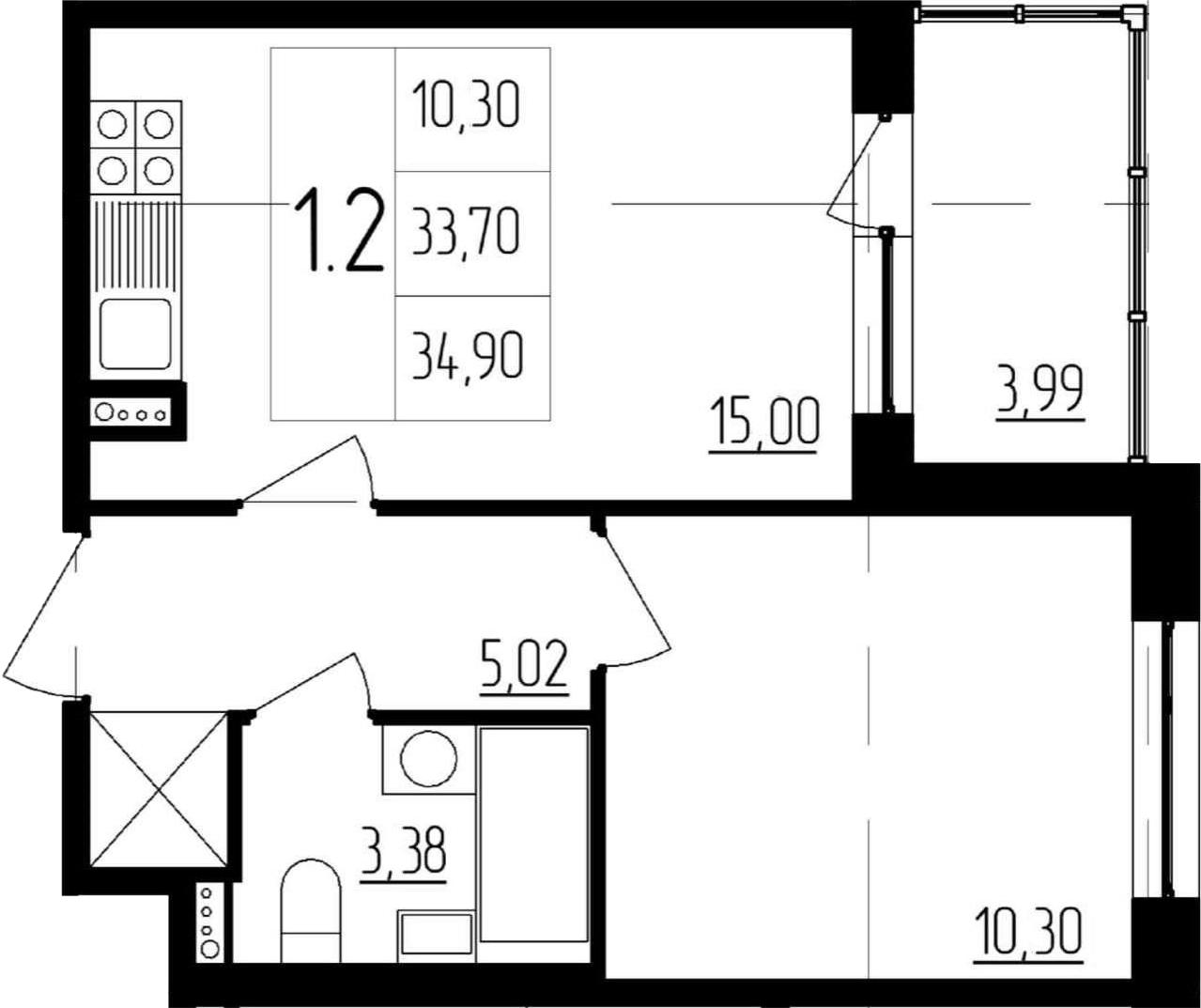 2Е-комнатная, 33.7 м²– 2