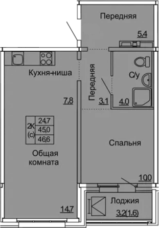 2Е-комнатная квартира, 46.6 м², 3 этаж – Планировка