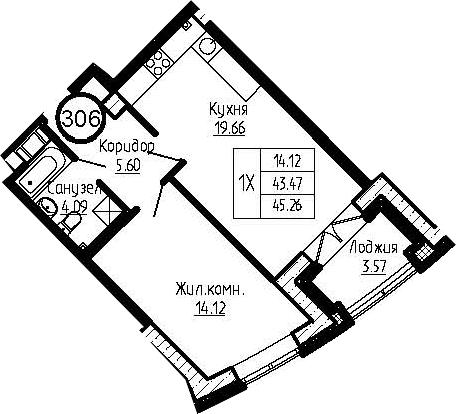 2-к.кв (евро), 47.04 м²