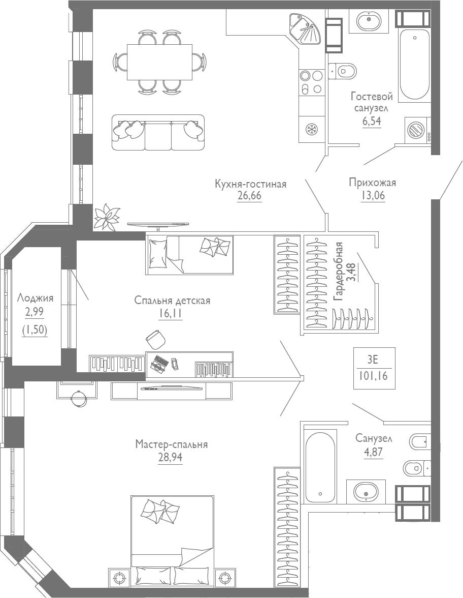 3Е-комнатная квартира, 101.16 м², 3 этаж – Планировка