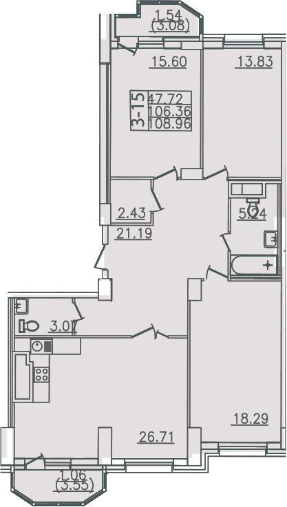 4Е-комнатная, 108.96 м²– 2