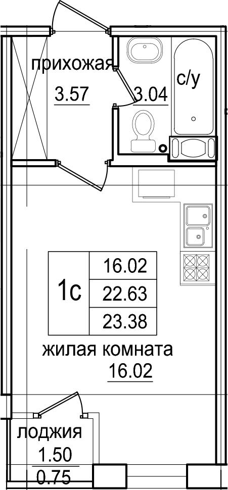 Студия, 23.38 м², от 2 этажа