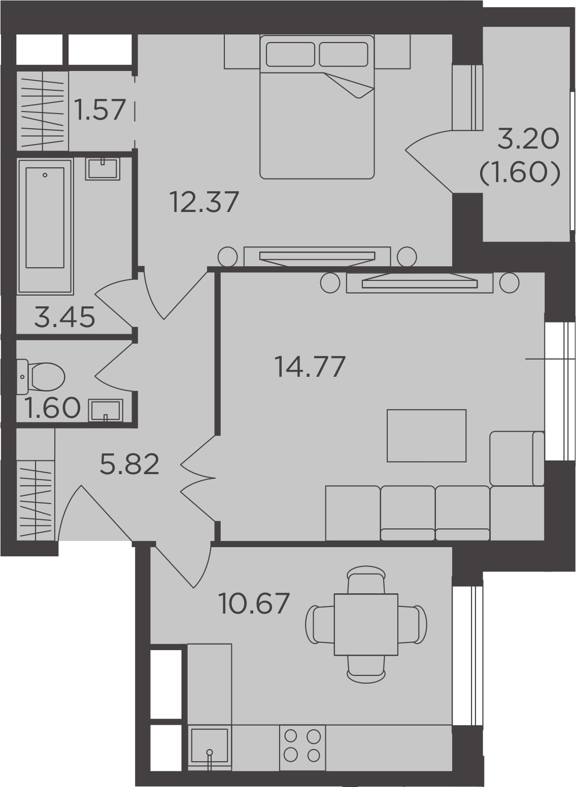2-к.кв, 51.85 м²