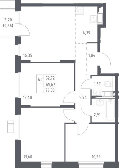 4Е-комнатная, 70.33 м²– 2