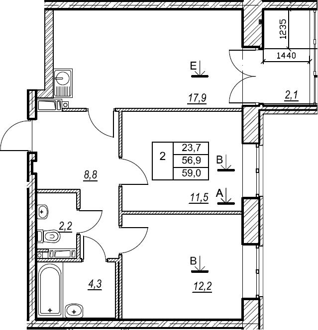 2-к.кв, 59 м², 8 этаж