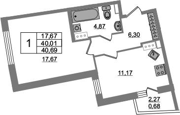 1-к.кв, 40.69 м², 3 этаж