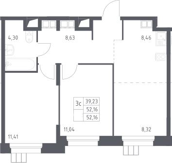 3Е-к.кв, 52.2 м², от 14 этажа