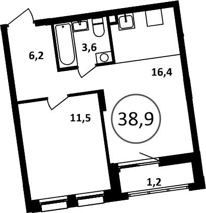 2-к.кв (евро), 40.1 м²