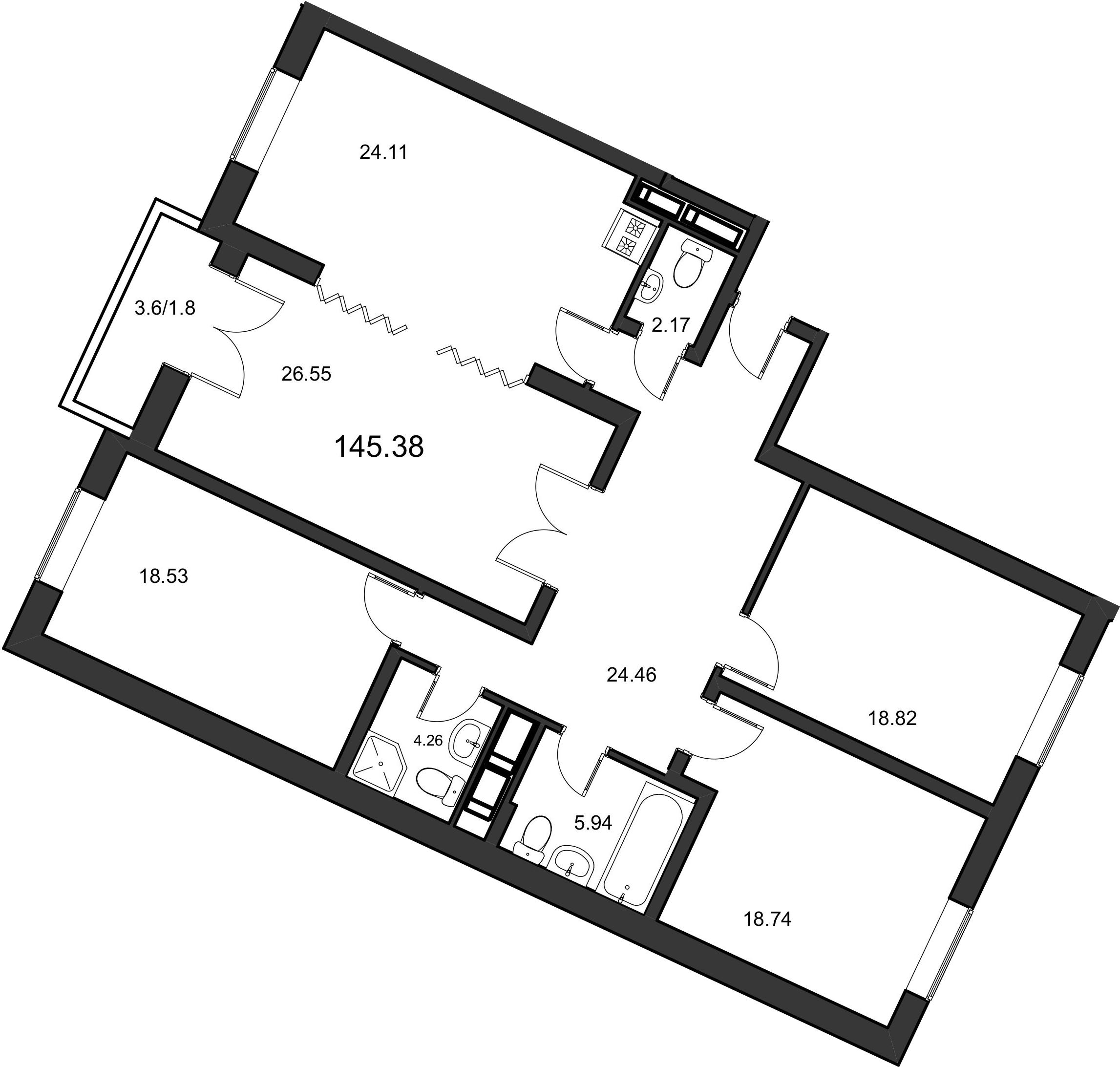 4-к.кв, 145.3 м²