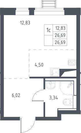 Студия, 26.69 м²