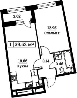 2Е-к.кв, 39.52 м², 3 этаж