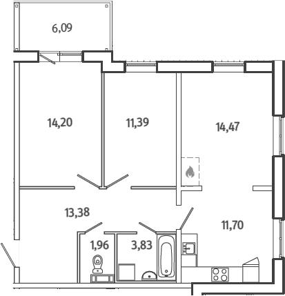 3Е-комнатная, 72.75 м²– 2