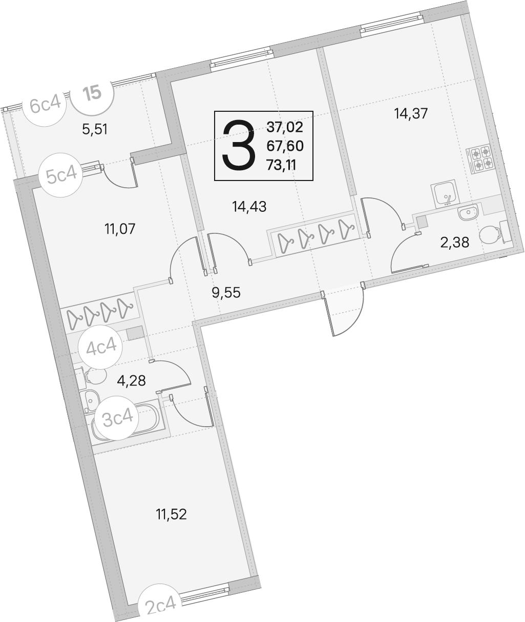 3-комнатная, 67.6 м²– 2