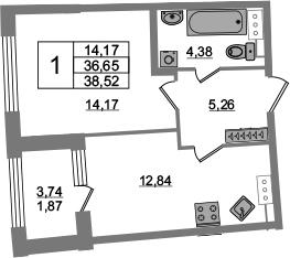 1-к.кв, 36.65 м², от 4 этажа