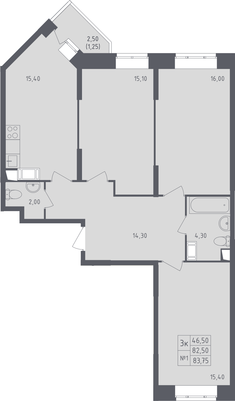 3-к.кв, 83.75 м²