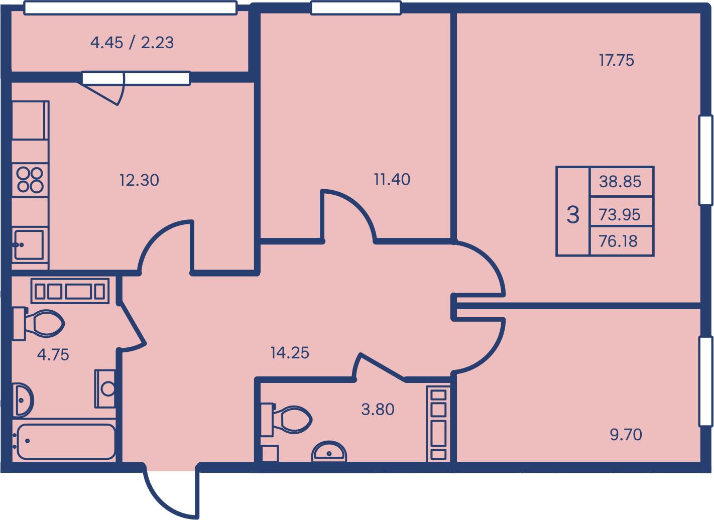 3-к.кв, 76.18 м²