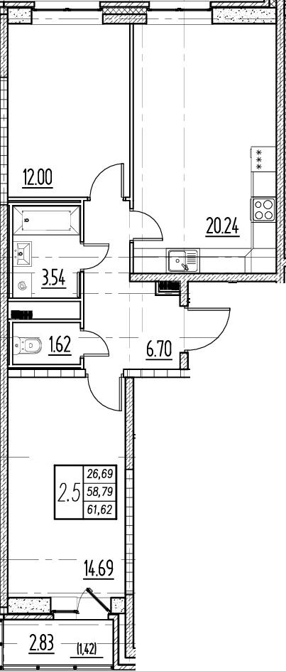 3Е-комнатная, 58.79 м²– 2