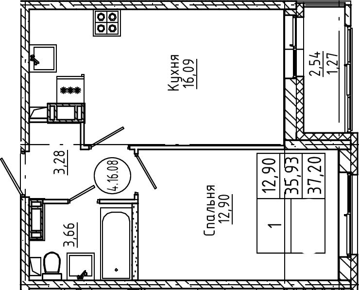 2Е-к.кв, 37.2 м², от 4 этажа