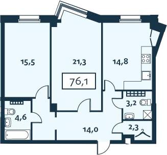 2-комнатная, 76.13 м²– 2
