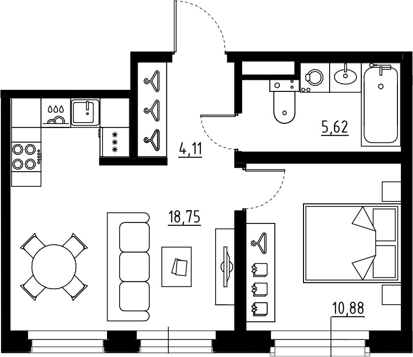 2Е-к.кв, 39.36 м², 7 этаж
