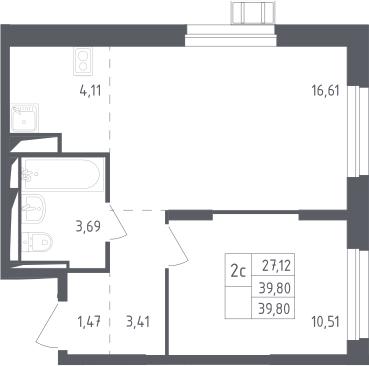 2Е-комнатная, 39.8 м²– 2