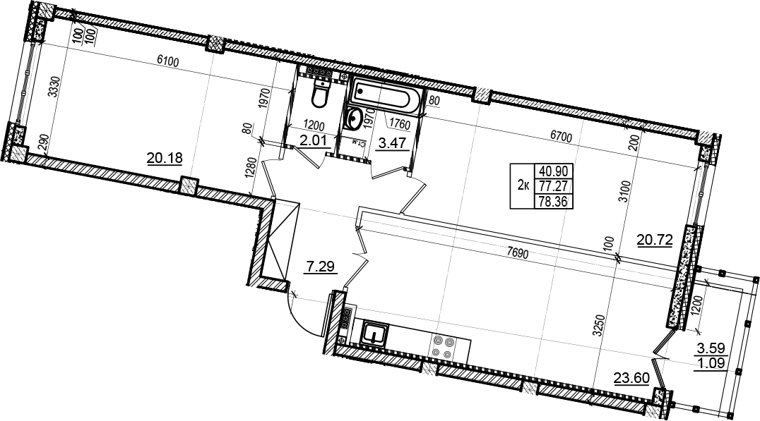 3Е-комнатная, 78.36 м²– 2