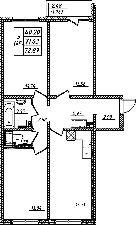 4Е-к.кв, 72.87 м²