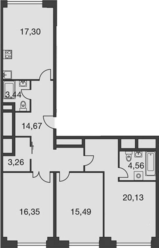 4Е-комнатная, 99.52 м²– 2