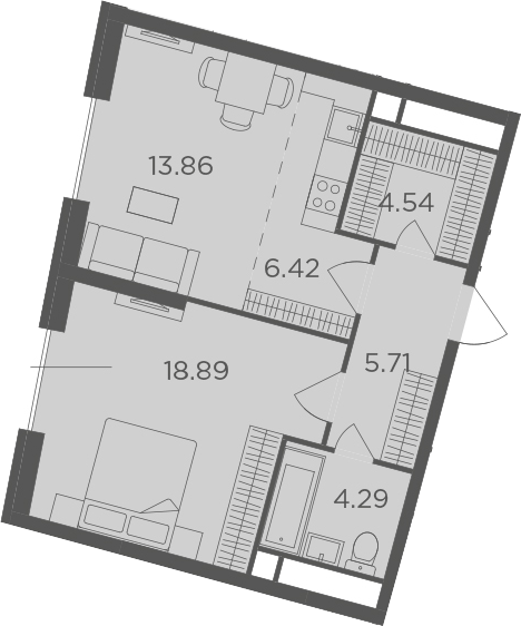 2Е-комнатная, 53.71 м²– 2