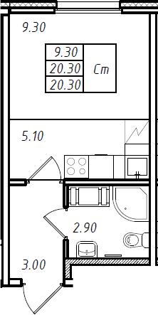 Студия, 20.3 м², 9 этаж
