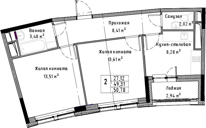 2-к.кв, 50.78 м², от 5 этажа