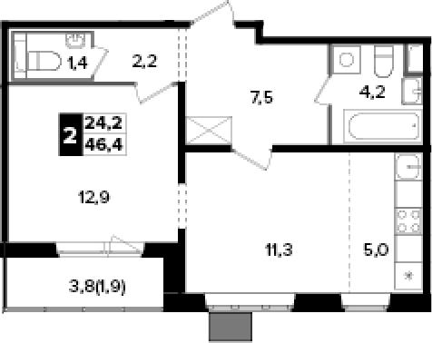 2Е-к.кв, 46.4 м²