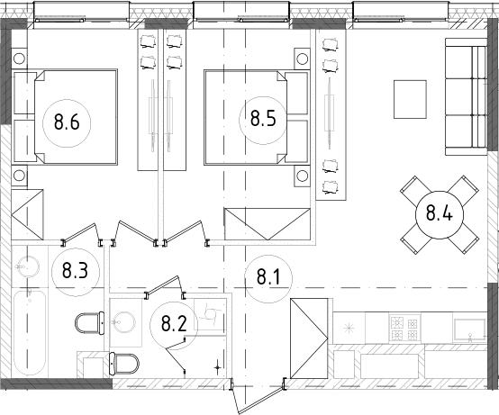 3Е-к.кв, 54.59 м², 12 этаж