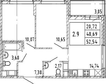 3Е-к.кв, 48.69 м², от 8 этажа