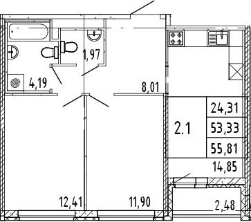 3Е-комнатная квартира, 54.57 м², 9 этаж – Планировка