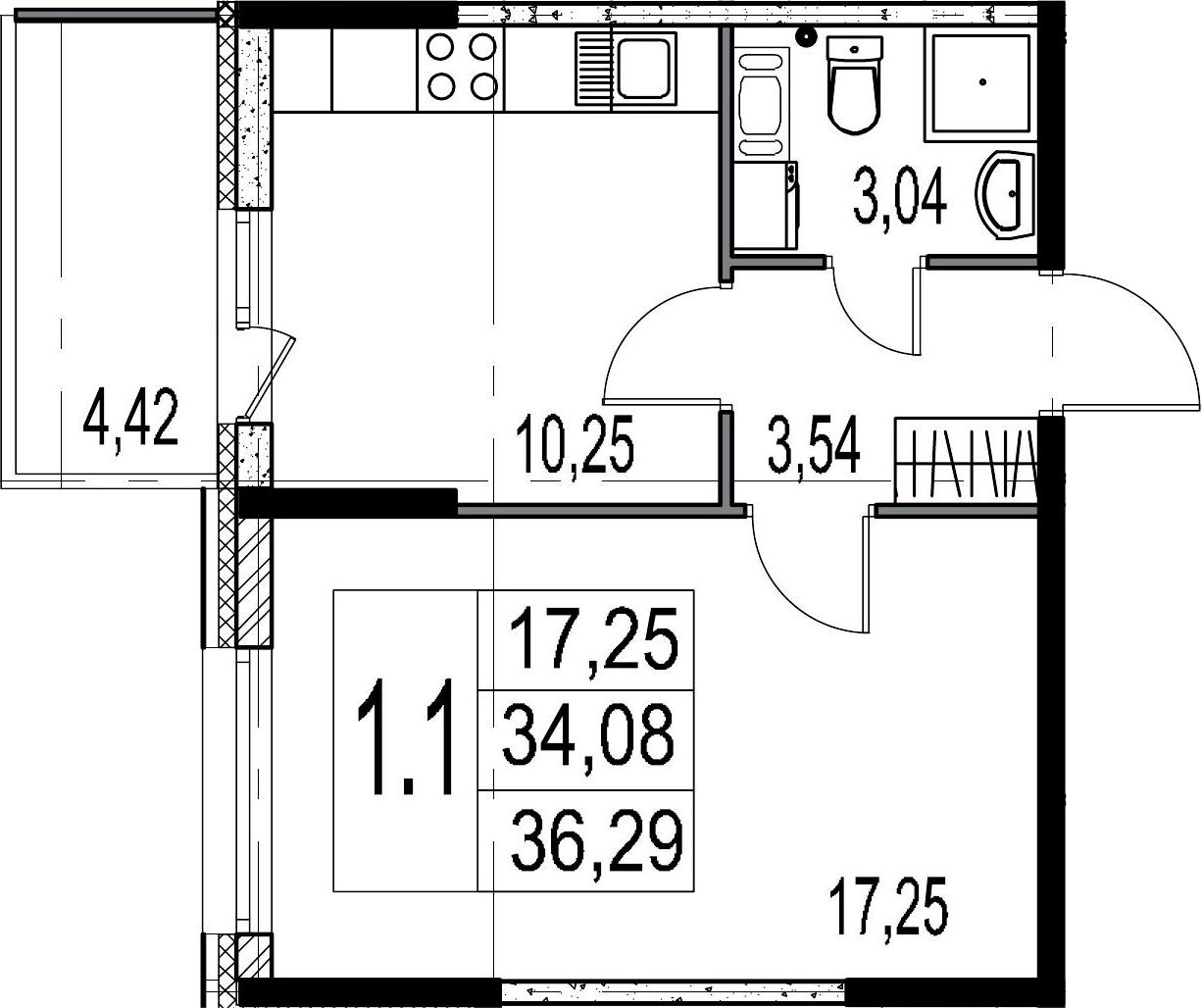 1-к.кв, 34.08 м², 3 этаж