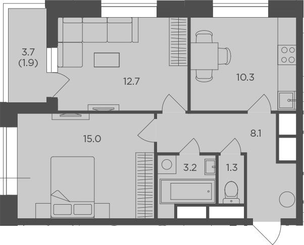 2-к.кв, 52.48 м²