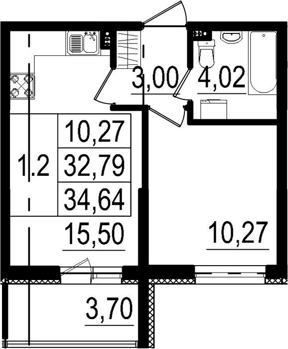 2-к.кв (евро), 36.49 м²