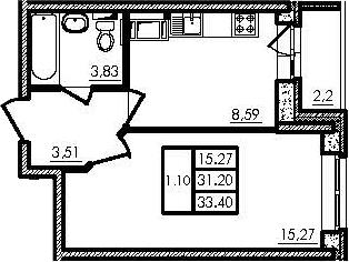 1-комнатная, 31.26 м²– 2