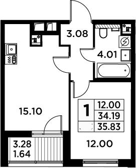 2Е-к.кв, 35.83 м²
