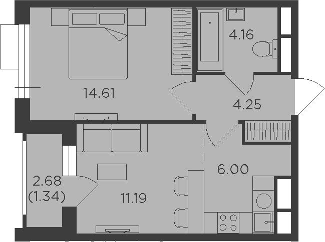 2Е-к.кв, 41.55 м², 15 этаж