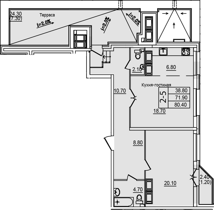 2Е-к.кв, 80.4 м²