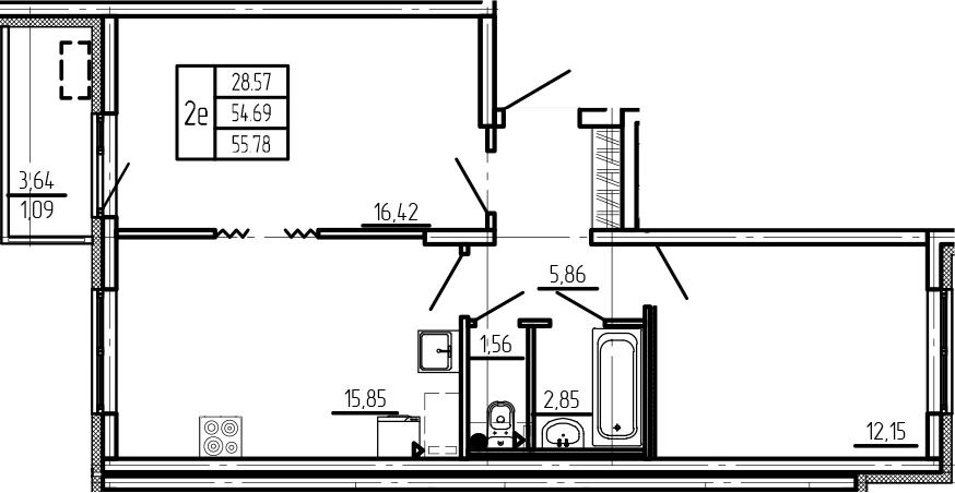 3Е-комнатная, 55.78 м²– 2