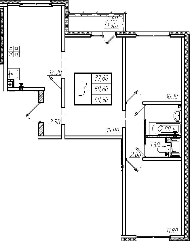 3-к.кв, 60.9 м²