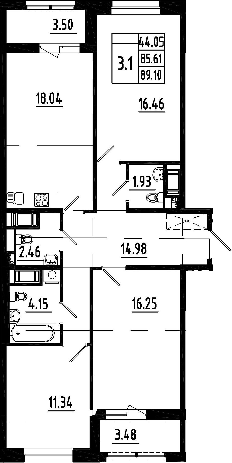 4-к.кв (евро), 92.59 м²